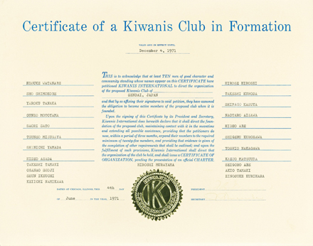 The History  of the Kiwanis Club of Sendai